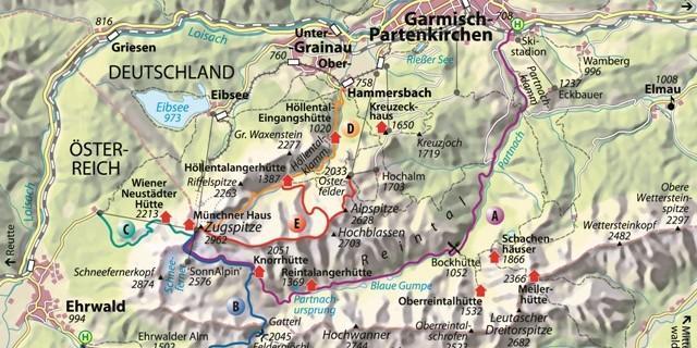 Karte - Höllental Route D. Karte Copyright Christian Rolle.