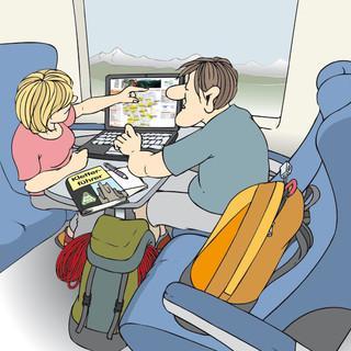 Am besten: Zug oder Fahrgemeinschaften, Zeichnung: Sojer