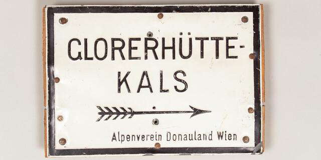 Wegeschild zur Glorer Hütte des jüdischen Alpenvereins Donauland, 1924-1938