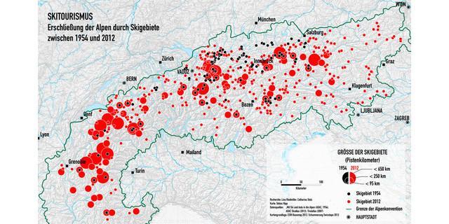 Entwicklung der Anzahl und Größe der Skigebiete zwischen 1954 (schwarz) und 2012 (rot)