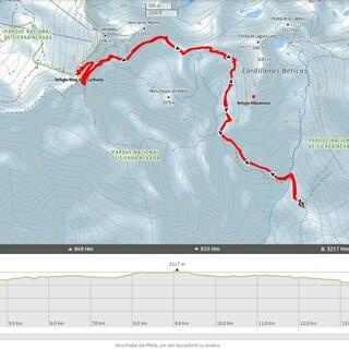 Vom Refugio del Poqueira zum Pico del Veleta und zurück. Quelle: alpenvereinaktiv