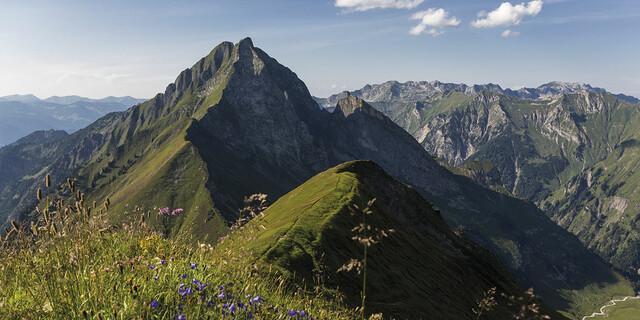 Juli: Allgäuer Bergsommeridyll - die Höfats (2258 m) von Süden aus gesehen. Rechts im Hintergrund der Hindelanger Klettersteig zwischen Nebelhorn und Großem Daumen, Foto: Klaus Fengler