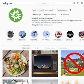 Webansicht des Instagram-Profils des DAV.
