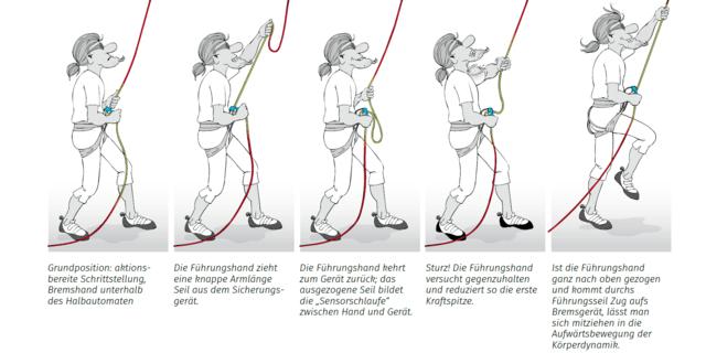 Ablauf beim Sichern mit Sensorhanddynamik, Illustration: Georg Sojer