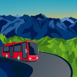 Bergbus Key Visual, Illustration