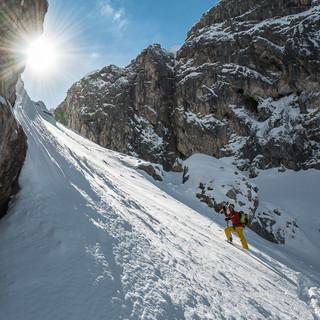 Spannend ist auch die Tour in das Schwärzkar: Kurz vor der Biberwierer Scharte in den Mieminger Bergen… Foto: Thilo Brunner
