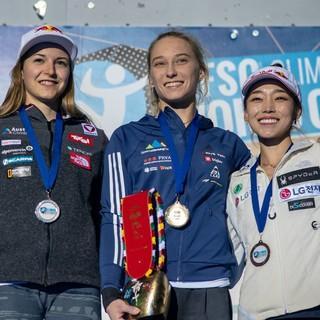Das Podium der Damen. Foto: IFSC/Eddie Fowke