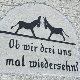 Humorvolle Entdeckung am Wegesrand. Mal sehen, ob wir uns wiedersehen. Foto: Joachim Chwasczca