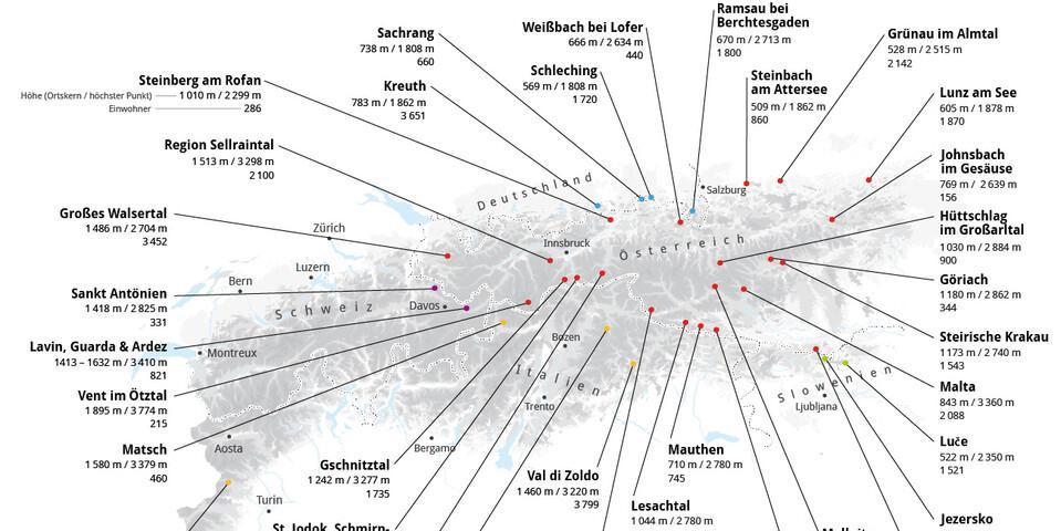 Karte der Bergsteigerdörfer - Grafik: Marmota Maps