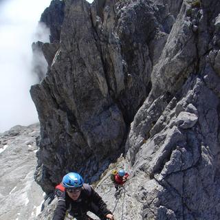 Tieflick beim Klettersteiggehen, Königsjodler, Hochkönig, Salzburg, Oesterreich