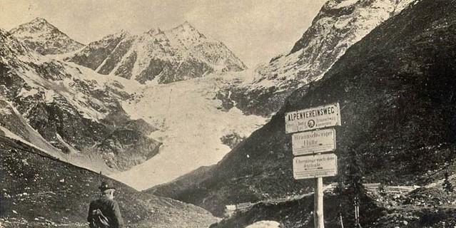 Wegbeschilderung bei der Brauschweiger Hütte, um 1900, Archiv des ÖAV, Innsbruck