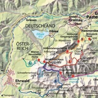 Karte - Österreichisches Schneekar Route C. Karte Copyright Christian Rolle.