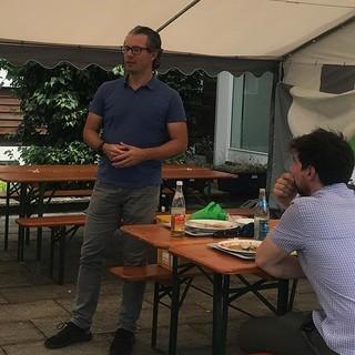 Richtfest, Dankesrede von Daniel Sautter, Geschäftsführer JDAV, 1.7.2020; Foto: Jubi/Johanna Grassegger