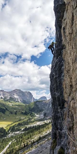 Auch am Grödner Joch fanden die Mädels steilen Fels. Foto: Dörte Pietron