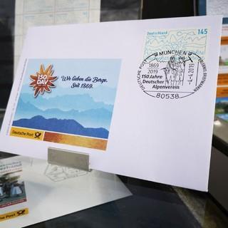 Motiv des Ersttagsbriefs mit der DAV-Jubiläumsbriefmarke
