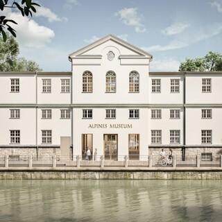 "Frontalansicht des ""neuen"" Alpinen Museums. Plan Michael Feil, Regensburg"