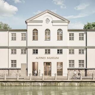 Frontalansicht Alpines Museum. Umbauplan Michael Feil