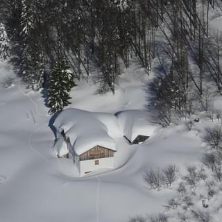 Gaudeamushütte im Kaisergebirge, Foto: Lawinenkommission Kirchdorf/Going/Reith - Erkundungsflug vom 16.01.2019
