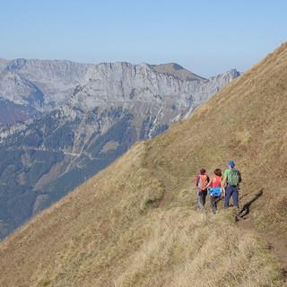 Links unten der Erzberg: Luftige Querung durch die steilen Grashänge hinter dem Rösselhals am Reichenstein. Foto: Axel Klemmer