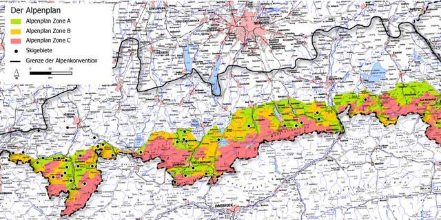 Die Schutzzonen des Alpenplans