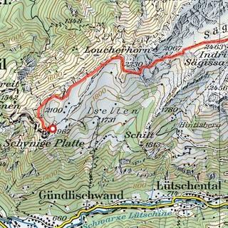 Tour Schynige Platte, Karte: Bundesamt für Landestopografie swisstopo