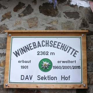Hüttenschild der Winnebachseehütte, Foto: DAV
