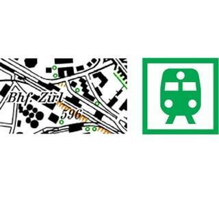 Die Darstellung von Bahnhöfen in AV-Karten vor und nach der Überarbeitung. Quelle: DAV