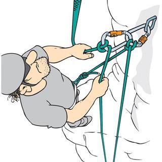 Abb. 1: Bei der Fixpunktsicherung ist das Sicherungsgerät am Stand befestigt, der Sichernde wird nicht von der Sturzkraft getroffen; weich sichern ist schwieriger.