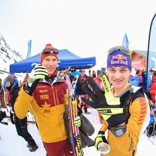 Gute Stimmung bei den beiden Berchtesgadenern Knopf und Palzer nach einem gelungenem Auftakt. Foto: DAV/Seebacher