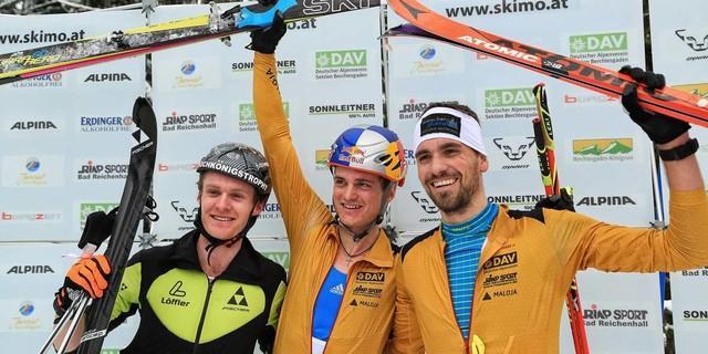 Strahlende Sieger. Das Podium des Vertical Races. 1. Platz: Palzer 2. Platz: Brandner 3. Platz: Lautenbacher, Foto: Willi Seebacher