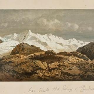 Nanda-Kot-Kette und Pindari-Gletscher - Adolph Schlagintweit. The Nánda-Kath Range and the Píndur Glacier (Nanda-Kot-Kette und Pindari-Gletscher, Uttarakhand/Indien&#x3B; GR 605), 29. Mai 1855, überarbeitet von&nbsp&#x3B;Karl Millner. Öl auf Papier. Alpines Museum des Deutschen&nbsp&#x3B;Alpenvereins, München.&nbsp&#x3B;Schenkung der Familie Schlagintweit.