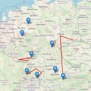 Sichtbare Reise der JDAV Gipfelbücher über Standortmeldungen auf der Internetseite im September 2021, Foto: JDAV/Open Street Map