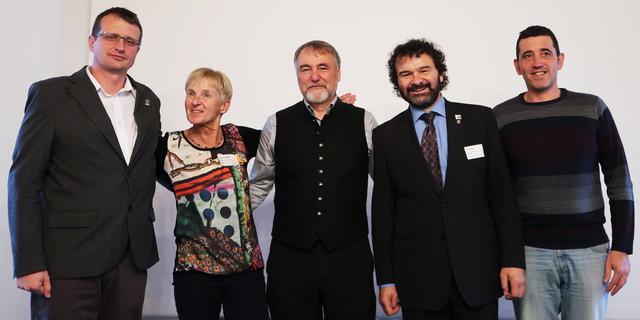 Das Präsidium: Bojan Rotovnik, Dr. Ingrid Hayek, Roland Stierle, Jan Bloudek, Juan Jesús Ibanez Martín