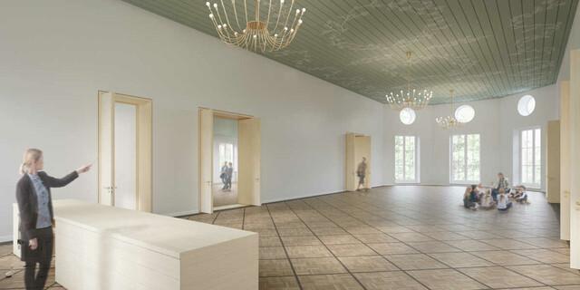 Blick in den Mittelraum mit historischer Decke Ende der 1940er Jahre. Foto: Feil Architekten