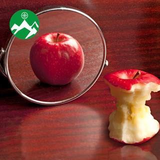 Apfel im Spiegel, Foto: iStock.com/LuisPortugal