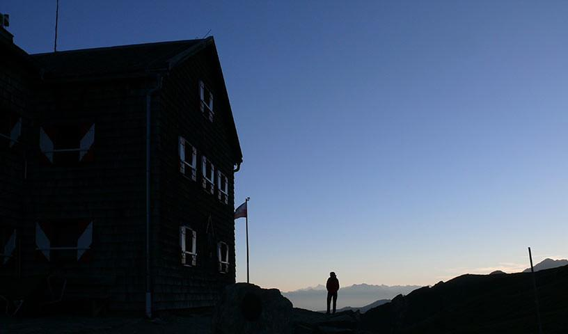 Glorer Hütte - Abend an der Glorerhütte – Wehmut kann aufkommen, dass es bald vorbei ist.