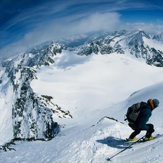 Steilwandfahren, Schrankogel Nordflanke, Stubaier Alpen, Tirol, Oesterreich