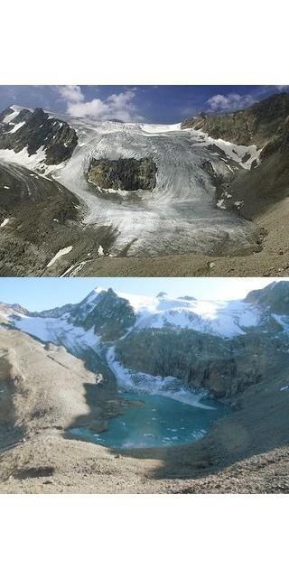 Landschaft im Wandel: der Sulzenauferner im Jahr 2000 (oben) und 2019 (unten). Foto: Volker Beer
