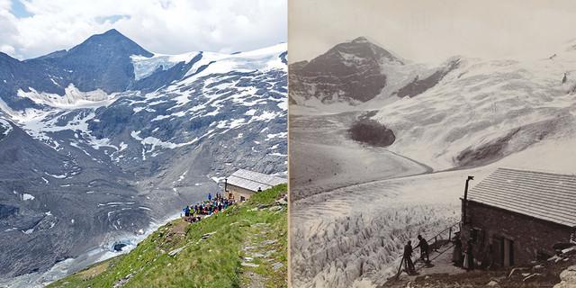 Gletscherveränderungen lassen sich auch anhand von Fotos dokumentieren: Links Einweihung der Alten Prager Hütte 2019; Rechts die Hütte um 1894; Fotos: Raich (l), Archiv DAV (r)