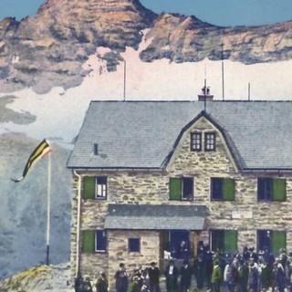 Postkarte der Duisburger Hütte in der Goldberg Gruppe, um 1910, Archiv des DAV, München