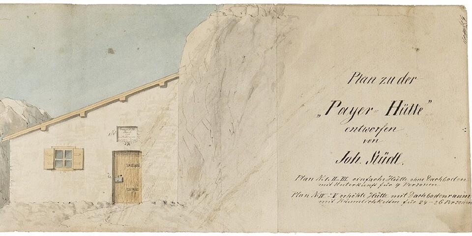 Plan zur Payer-Hütte, entworfen von Johann Stüdl 1875. Foto: Norbert Freudenthaler, Archiv des DAV, München