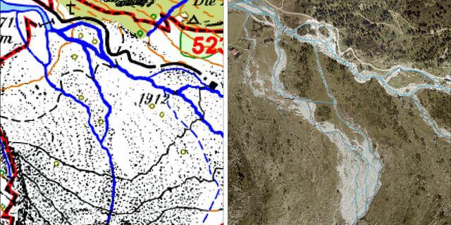 Im Bereich der Waxeggalm zeigen sich Veränderungen im Flussnetz. Derartige Veränderungen werden häufig durch die Abflussenergie, Sedimentfracht oder die Hangneigung beeinflusst.
