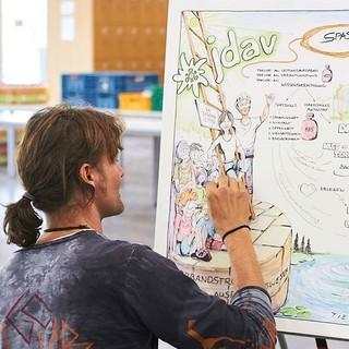 Erbse zeichnet unser Bild fertig, Foto: JDAV/Ben Spengler