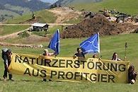 Protest - Naturschutzorganisationen protestierten gegen den Ausbau des Sudelfelds (Foto: Mountain Wilderness Deutschland)