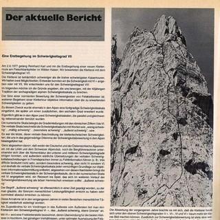 """Durch einen Beitrag in den """"Mitteilungen des DAV"""" argumentierte Helmut Kiene anhand der Pumprisse, dass die Schwierigkeitsskala geöffnet werden müsse."""