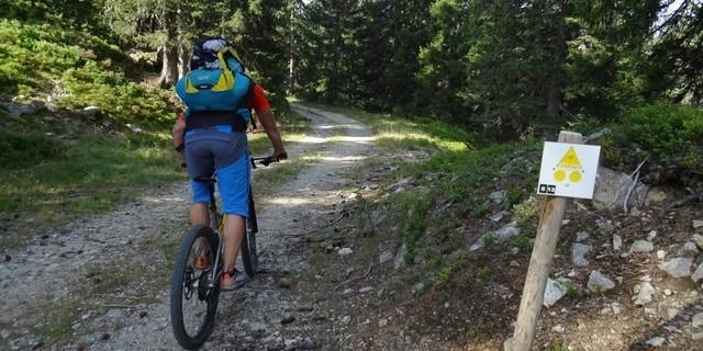 Tag 4: In der Auffahrt zum Col du Pré sind die Strecken noch gut mit dem gelben MTB-Symbol ausgewiesen.