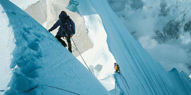 Abstieg vom Changabang nach der Erstbegehung des Südpfeilers 1978, Foto: J. Porter