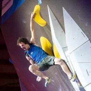 Adam Ondra nach dem letzten Finalboulder. Foto: TheCircuitClimbing