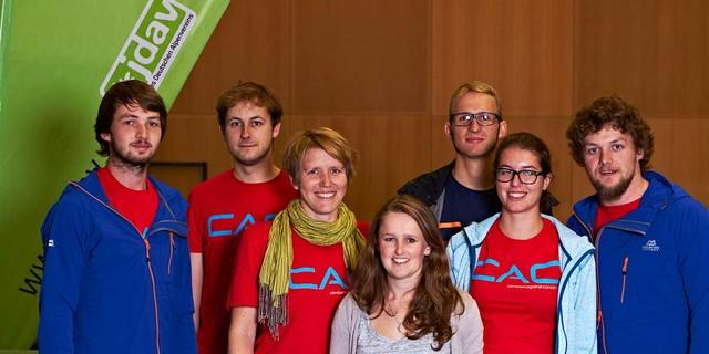 von links nach rechts: Arne Hamann, Philipp Sausmikat, Lena Glaser, Sunnyi Mews, Richard Kempert, Annika Höllerl, Jonas Freihart&#x3B; Foto: JDAV/Ben Spengler