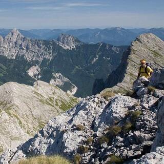 Hochtor - Blick vom Hochtor zurück auf Rosskuppe, Planspitze, Buchstein, Foto: Iris Kürschner